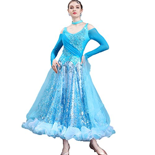 Paillettes Danse La l Toute Longues Blue Manches De Wqwlf À Robe Costumes Longueur Compétition Féminine Moderne TtxR41wqv