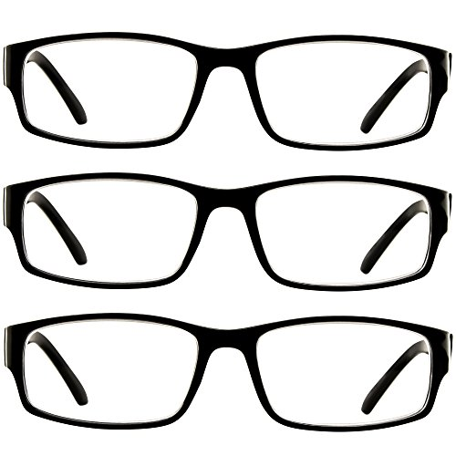 Reading Glasses 3 Pack Black Always Have a Professional Look, Crystal Clear Vision and Sure-Flex Comfort Spring Arms & Dura-Tight Screws 100% Guarantee +2.50 by TruVision Readers (Image #2)