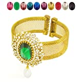 Designer Indian bollywood Gold Plated CZ Ten Changeable Stone Bracelet Kada