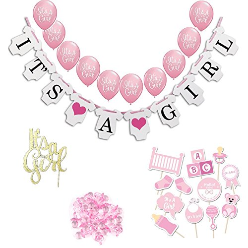 Baby Shower Decorations Pink Baby Shower Décor Its a Girl Banner, Balloons, Gold Cake Topper, Mini Pink Pacifiers, Its a Girl Photo Props with NO ASSEMBLY REQUIRED from Little Angels Party Store