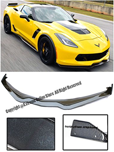 Performance Package (Z06's Z07 Performance Package Stage 2 Style ABS Plastic Carbon Flash Metallic Front Bumper Lower Lip Kit Splitter Spoiler Wing With Carbon Fiber Side End Caps Winglets For 14-Up Chevrolet Corvette C7)