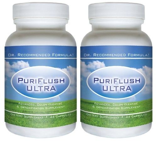 PURIFLUSH ULTRA (2 Bottles) - The All-Natural, Advanced Complete Colon Cleansing Formula - Best Intestinal Cleanse / Body Detox Supplement