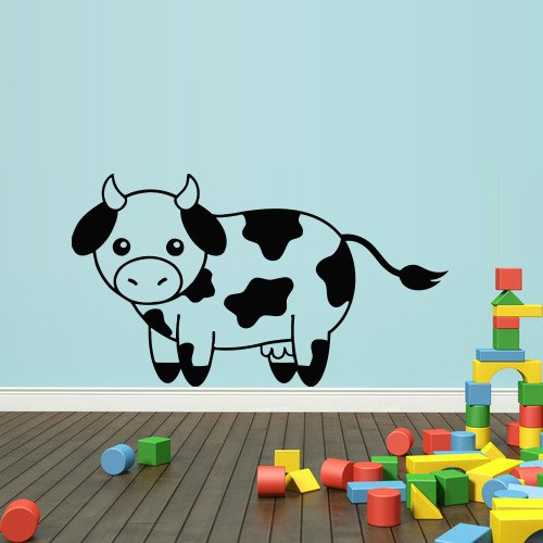 Wall Decal Sticker Vinyl Cow Calf Baby Nursery Cute Cheerful Cartoon Room (Black Custom Calf Accessories)