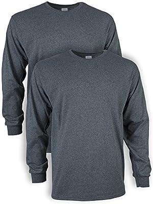 Gildan Men's Ultra Cotton Adult Long Sleeve T-Shirt, 2-Pack, Dark Heather, 2X-Large