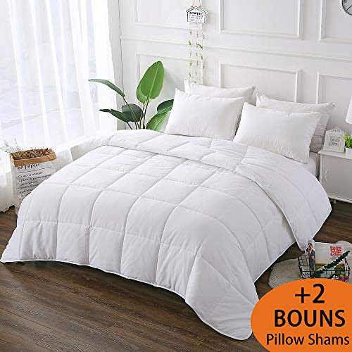 Decroom White Comforter Queen Full Size, Down Alternative Quilted Duvet Insert Queen,3M Moisture-Wicking Treament,Light Weight Soft and Hypoallergenic for All Season Comforter