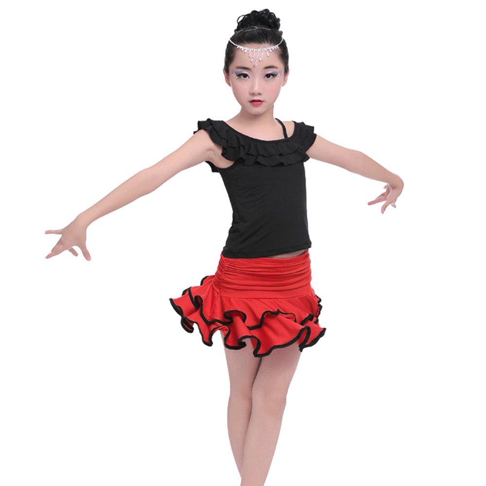 Blu//Rosso//Nero Gonna Costume BOZEVON Abito da Ballo Bambini Ragazze Vestito da Ballo Latino Abbigliamento Danza Top