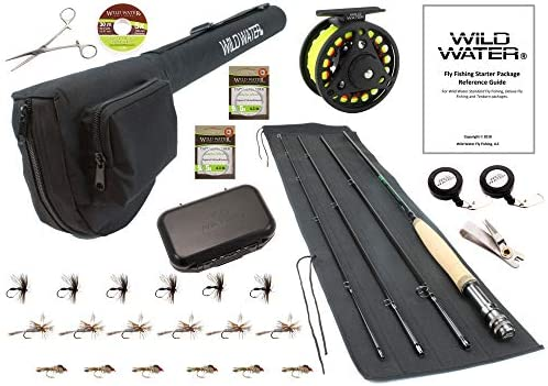 Wild Water Fly Fishing 9 Foot, 4-Piece, 3 4 Weight Fly Rod Deluxe Complete Fly Fishing Rod and Reel Combo Starter Package