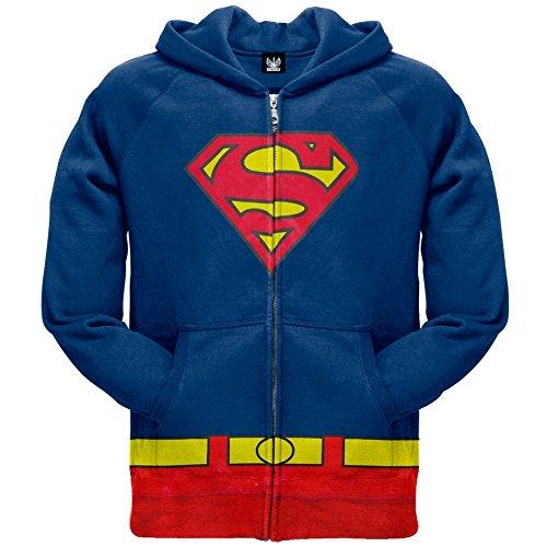 Basketball Costume Design (Superman - Mens Costume Hoodie Large Blue)