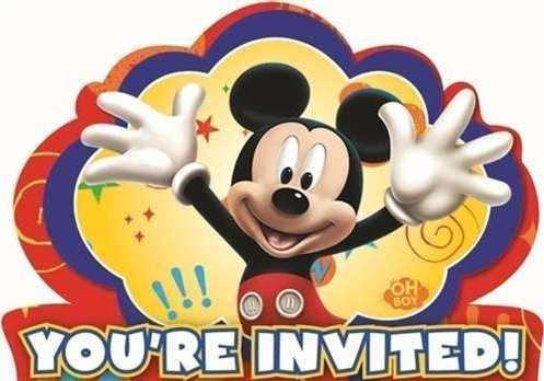 Mickey Mouse Clubhouse Novelty Party Invitations With Dark Blue Envelopes - 8 ()