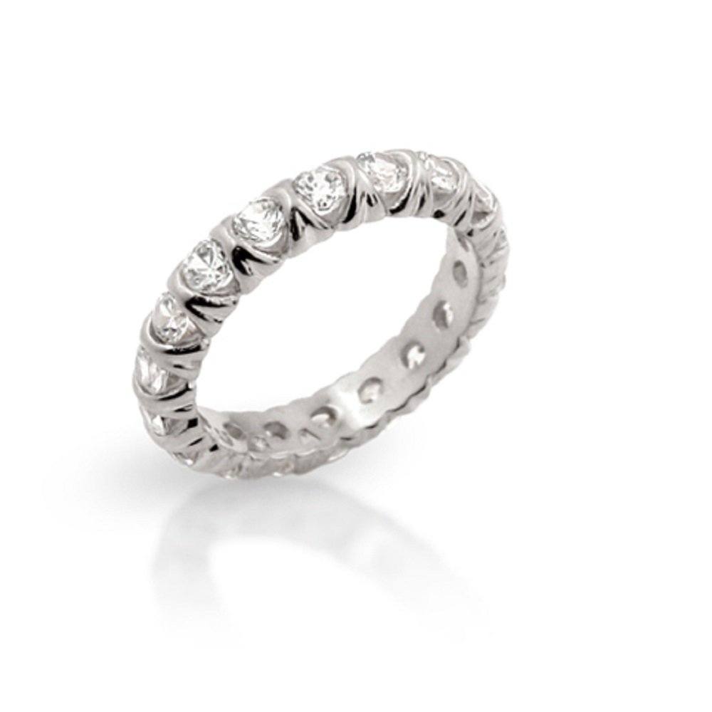 Rhodium Plated 925 Sterling Silver Xo Eternity Style Band Ring Size 9