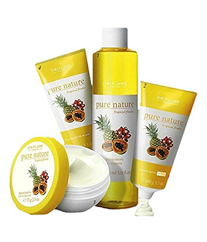 Oriflame Pure Nature Facial Kit For Normal To Dry Skin Tropical Fruits - Set Of 4 SD - With Free Expedited Shipping and Complementary Gifts!!