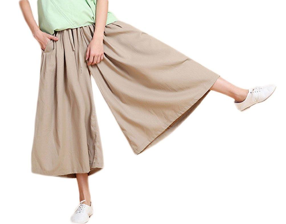 Soojun Women's Loose Fit Wide Leg Cotton Linen Cropped Palazzo Pants, Light Khaki