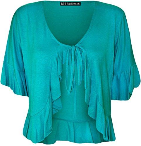 RM Fashions Womens Plus Size Frill Tie Bolero Shrug Cardigan - Turquoise - US 18-20 (UK 22-24)