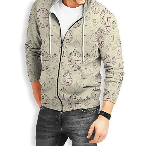 (Coaballa Mens Zipper Hoodie Clock Zipper Hoodies Sweatshirt with Design)
