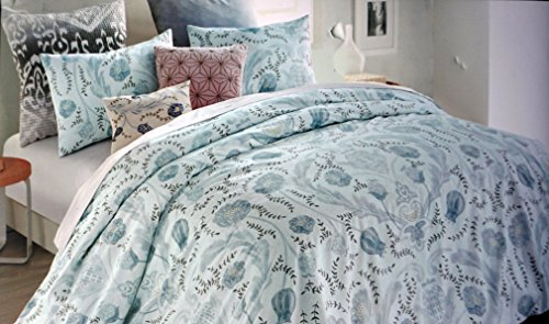 DKNY Bedding 3 Piece King Duvet Cover Set Floral Pattern in Shades of Blue Brown Taupe on Light Blue -- Central - Shades Dkny