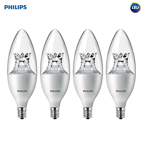 Philips LED Dimmable B12 Soft White Light Bulb with Warm Glow Effect 180-Lumen, 2700-2200-Kelvin, 2.7-Watt (25-Watt Equivalent), E12 Base, Clear, 4-Pack