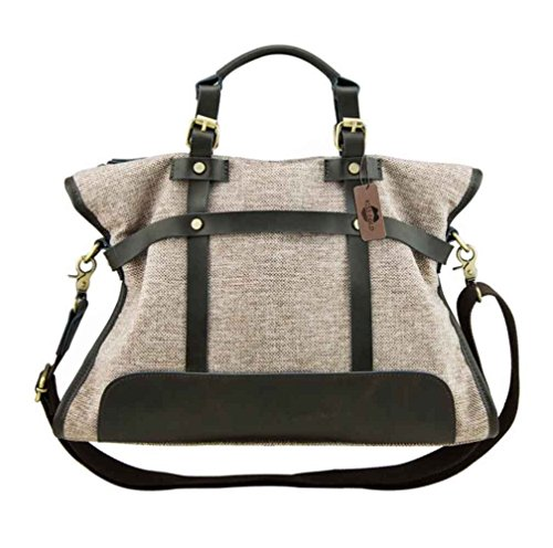 KISS GOLD(TM) Women Canvas Hobo Totes Office Handbags Crossbody Shoulder Bags Vintage, Khaki