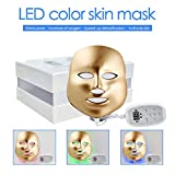 3D Phototherapy Trichromatic Color LED Mask Instrument Cold Light LED electronic Mask Instrument Professional Beauty Rejuvenation Instrument Therapy Facial Skin Care Mask Device (3 Color, Gold)