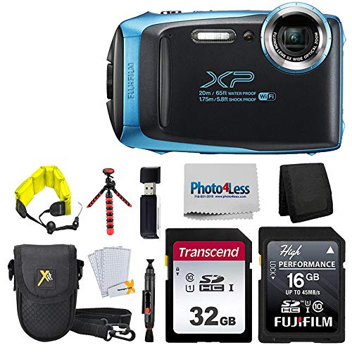 "Fujifilm FinePix XP140 Digital Camera (Sky Blue) + 48GB SD Card + Floating Strap + Cleaning System + 12"" Flexible Tripod + Screen Protectors + SD Card Reader + Memory Card Wallet + Camera Case"