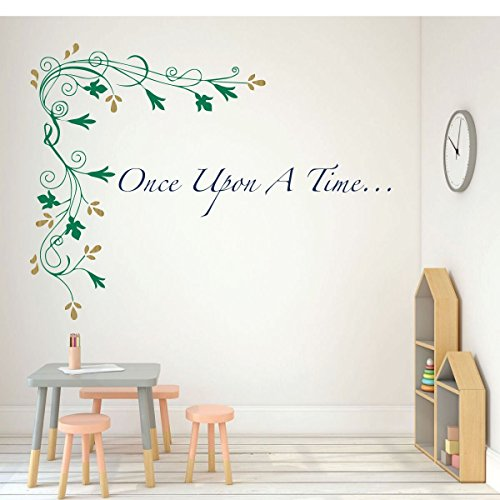 (Once Upon A Time Wall Decal - Flower Vinyl Mural Decor for Girls bedroom, Teen or Tween - Classroom or School Decorations)