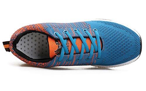 WELMEE Herren stricken bequeme atmungsaktive Casual Air Turnschuhe leichte Tennis Walking Laufschuhe Blau