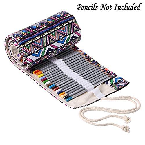 BTSKY Canvas Pencil Roll Wrap 108 Slot--Adult Coloring Pencil Holder Organizer for Colored Pencils, NO Pencils (108 Slots Bohemian)