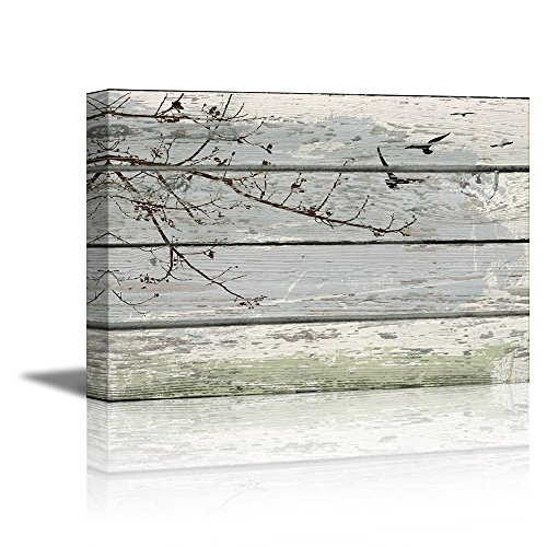 wall26 - Canvas Prints Wall Art - Tree Branch with birds on Vintage Wood Background Rustic Home Decoration - 24