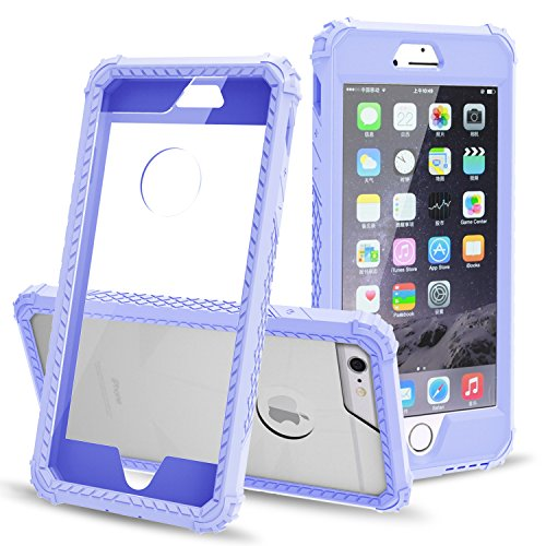 "iPhone 6S Plus Case, AOKER [Crystal Clear] [Ultra Thin] [Shockproof] [Scratch Resistant] Hard PC Cover+ Rubber TPU Bumper Hybrid Non-Slip Case Cover for iPhone 6S Plus / iPhone 6 Plus(5.5"") (Purple)"
