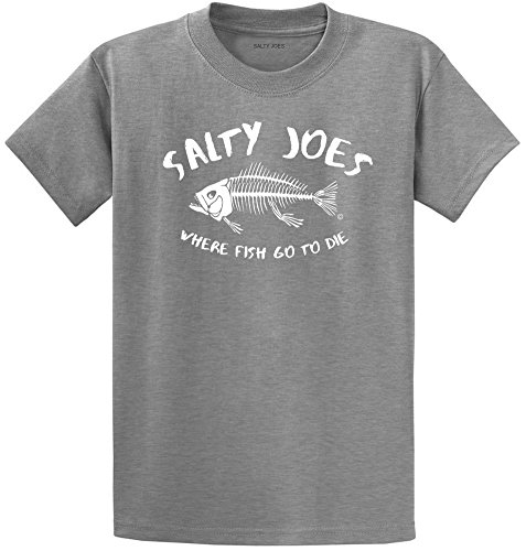 Mens New Cotton Hawaiian Shirt (Joe's USA Koloa Tall Where Fish Go to Die Cotton T-Shirt-AthHeth/w-XLT)