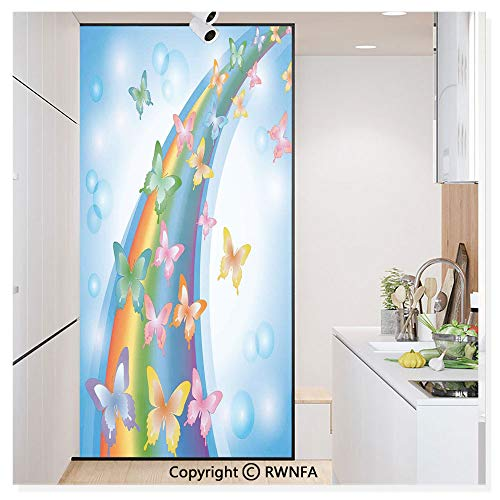 RWN Film Window Films Privacy Glass Sticker Colorful Background with Rainbow Butterflies Bubbles Fairy Cheerful Graphic Print Static Decorative Heat Control Anti UV 30In by 59.8In,Multi