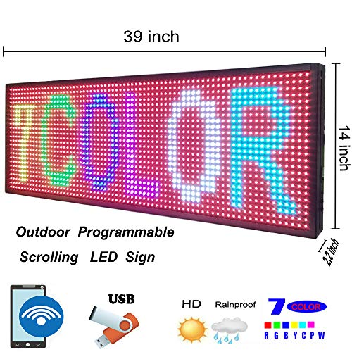 Programmable LED Display SMD 7 Color Outdoor LED Sign Support Scrolling Text PC WiFi and USB LED Advertising Screen Display ()