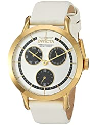 Invicta Womens Angel Quartz Stainless Steel and Leather Casual Watch, Color:White (Model: 22496)