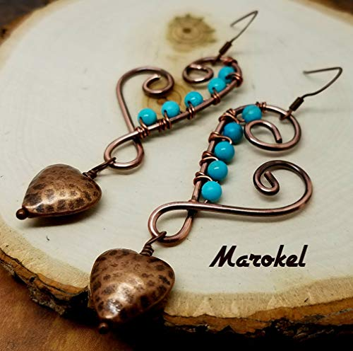 Hammered Copper Heart Earrings Dangle Wire Wrapped Textured Copper Turquoise ()