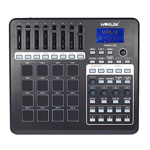ammoon PANDA200 Portable USB MIDI Pad Controller 16 Drum Pads with USB Cable
