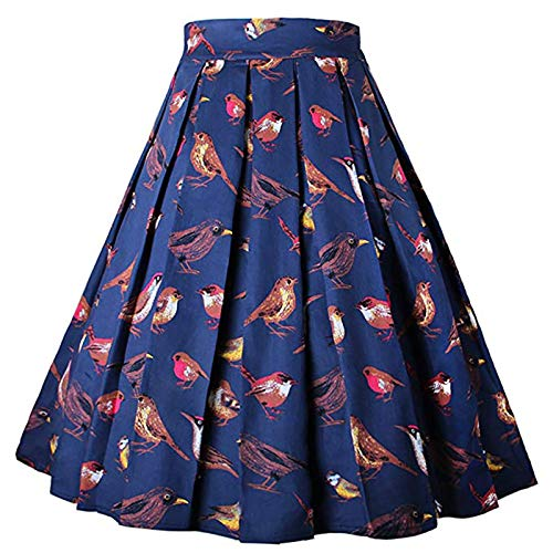 Thenxin Women's Vintage A-Line Skirt Floral Print High Waist Pleated Flared Above Knee Skirt(Navy,M)