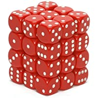 Chessex Dice d6 Sets: Opaque Red with White 12mm Six Sided Die (36) Block of Dice