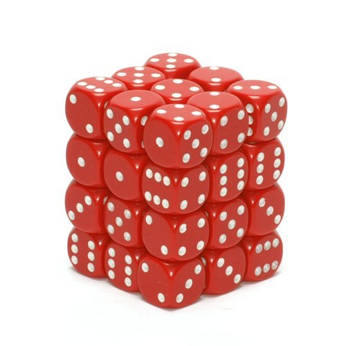 36 Dice Set - Chessex Dice d6 Sets: Opaque Red with White 12mm Six Sided Die (36) Block of Dice