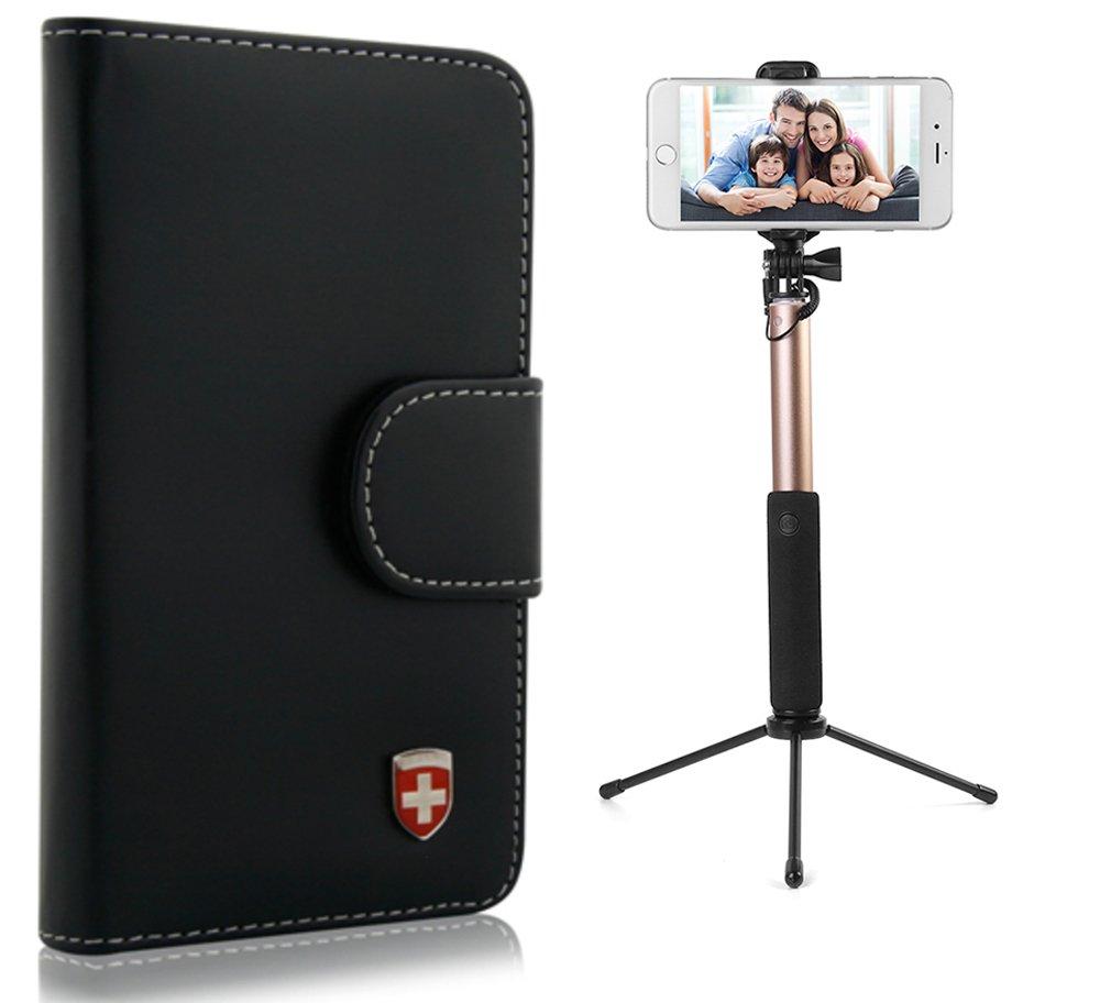 2 in 1 Bluetooth Gold Selfie Stick & Premium PU Leather Cellphone Case for Nokia 105 / 130 / 216 / 215 / 230 / 150 / 3310