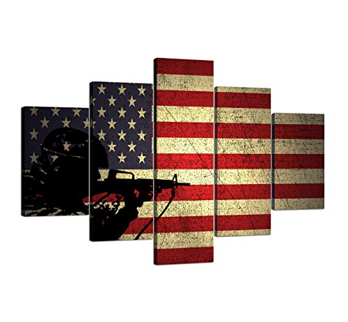 American Flag Stars and Stripes Painting on Canvas Soldier Hold Gun Wall Art Black White Artwork USA home decor pictures for living room 5 Panel poster and Prints Framed Ready to Hang (60''W x 40''H)