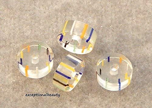 40 Blue Orange Blown Furnace Cane Glass Round Stripe 11x4mm Slice Disc Beads