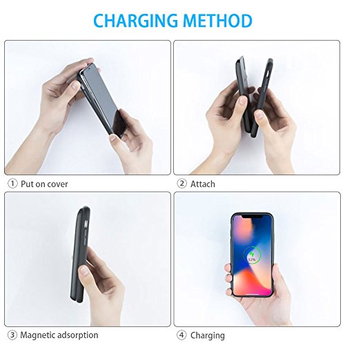 iPhone X Battery Case 5000mAh QI Wireless Charger power bank, 2in1 Rechargeable Extended Protective Charging Case for iPhone X, External Portable Battery Pack for Wireless Charging Devices (Black) by Feekea (Image #6)