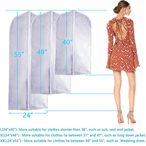 Garment Bag Clear Plastic Breathable Moth Proof Garment Bags Cover for Long Winter Coats Wedding Dress Suit Dance Clothes Closet Pack of 6 ( 24'' X 55'' ) by EANXO (Image #2)