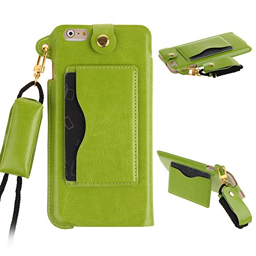 ieasysexy iphone 6 leather case, Apple Iphone 6 with 4.7 inch Screen case Stylish Simple Pouch Style Slim PU leather Easy Installation Carring Protective Back Case Long Strap with Kickstand (Green)