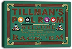 scpy1-1792 TILLMAN'S Pool Room 8 Ball Bar Beer Stretched Canvas Print Sign