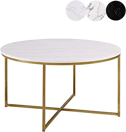 Table Basse Salon Petite Table Basse Ronde Blanche Simple de ...