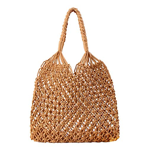 - Women Straw Bag Handmade Hand-woven Large Straw Tote Bag Square Fishing Net Handbag with Square Top Handle Shoulder Bags (Khaki)