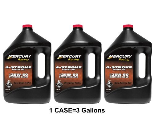 OEM Mercury Racing 4-Stroke Engine Oil SAE 25W-50 Synthetic Blend Case 3 Gallons primary