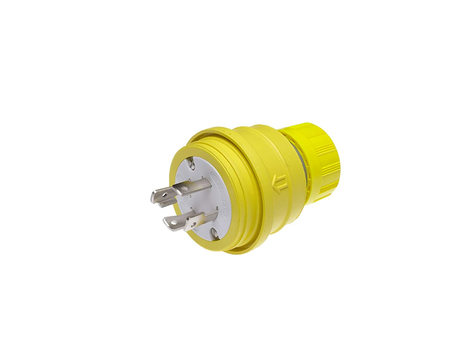 Woodhead 28W76 Watertite Wet Location Locking Blade Plug, 3-Phase, 4 Wires, 3 Poles, NEMA L16-30 Configuration, Yellow, 30A Current, 480V Voltage