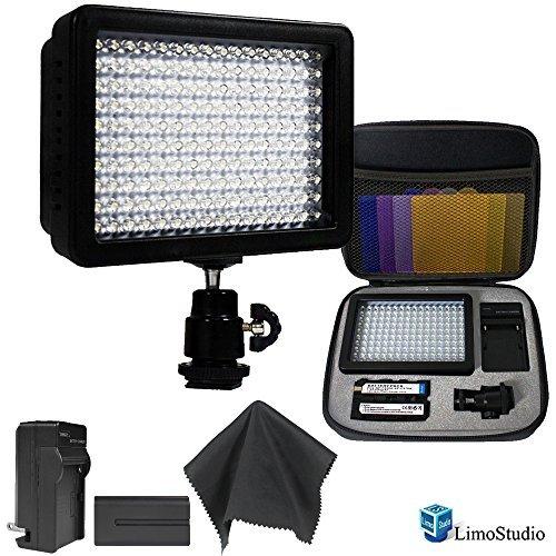 LimoStudio 160 LED Video Light Lamp Panel Dimmable for DSLR Camera DV Camcorder with Hard Carry Case & Black SuperFiber Lens Cleaning Cloth, AGG1814 (Led Video Light Lamp Panel compare prices)
