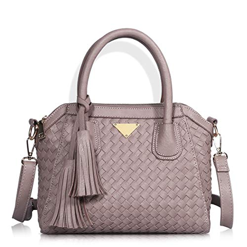 Angelkiss Women's Soft PU Leather Classic Tote Bag Top Handle Shoulder Handbags and Purses with Zipper (8365-2-Dark-Pink)